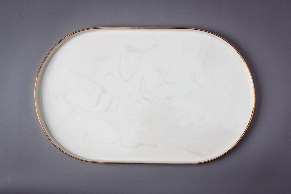 Marbled ceramic platter