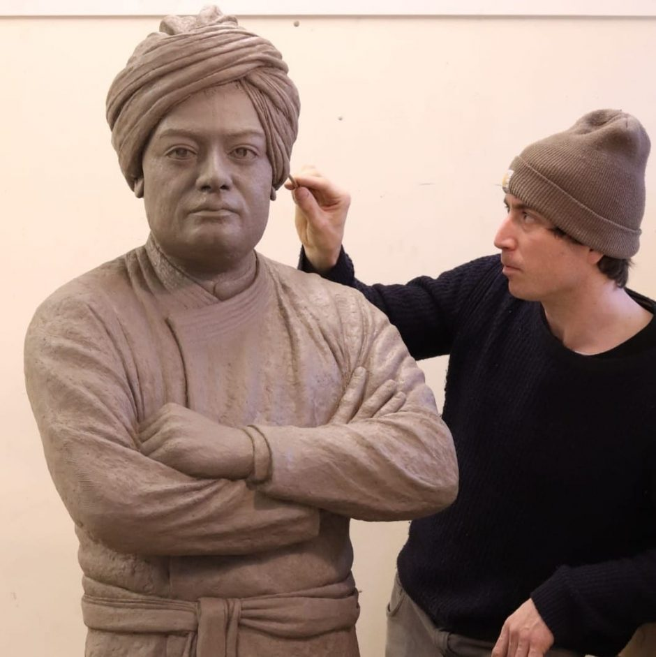 Clay model for sculpture of Swami Vivekananda (square)